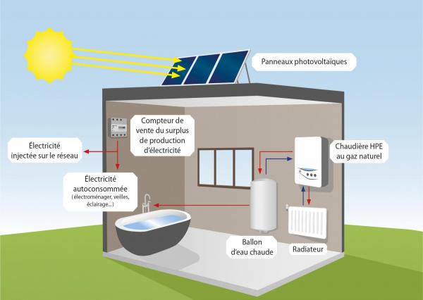 Chaudière à condensation avec surface étendue de panneaux